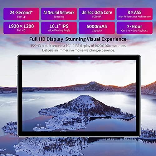 Tablette Tactile 10 Pouces, 4G LTE Android 10, TECLAST P20HD Tablettes, Octa Core, 4 Go RAM + 64 Go ROM, Full HD 1920x1200, 6000mAh Akku, WiFi, Double Caméras, Bluetooth 5.0, GPS, Type-C