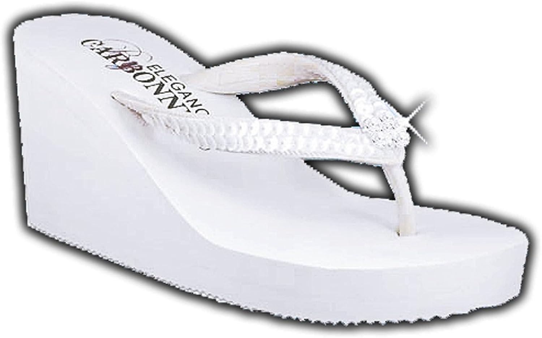 Elegance by Carbonneau BREEZE Women's High Heel Flip Flop White Foam Rubber Sandal