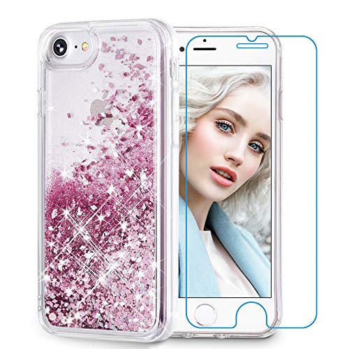 Maxdara Glitter Case for iPhone 6 6s 7 8 Case Glitter Liquid Women Girls Case with (Screen Protector) Bling Sparkle Luxury Pretty Cute Case for iPhone 6 6s 7 8 4.7 inches (Rosegold)