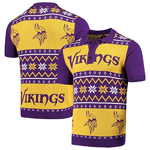 Forever Collectibles Majestic NFL Ugly Polo Shirt Minnesota Vikings Sweater Knit Poloshirt (XL)