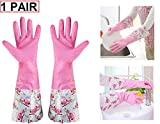 Lukzer 1 Pair Waterproof Reusable Hand Gloves for Kitchen Cleaning Latex Rubber (Pink)