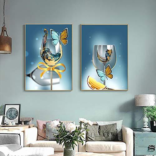 Cuadros de arte de pared moderno abstracto mariposa copa de vino arte lienzo pinturas cartel e impresión para decoración de sala de estar 30x42cmx2pcs sin marco