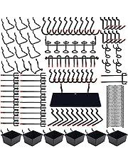 146個 有孔ボード フック 25mm パンチングボードフック 専用T型フック メッシュフック 穴ピッチ プラボックス付き 吊り下げラック 固定 止め 金具 商品展示 ディスプレ スチール製 壁面収納 取り付け簡単