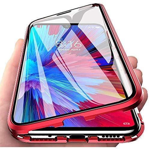 Preisvergleich Produktbild Hülle für OnePlus Nord / OnePlus Z,  Magnetische Adsorption Handyhülle 360 Grad Schutz Aluminiumrahmen mit Gehärtetes Glas,  Starke Magneten Stoßfest Metall Flip Case Cover - rot