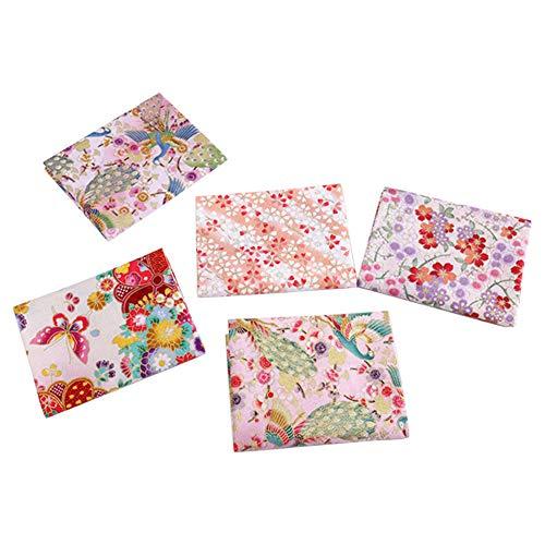 5PCS estilo japonés patrón floral algodón costura tela bronceado para DIY acolchado (E)