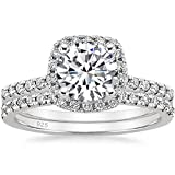 EAMTI 1.25CT 925 Sterling Silver Bridal Rings Sets Cubic Zirconia Halo CZ Engagements Rings Wedding Bands for Women Promise Rings for her 7
