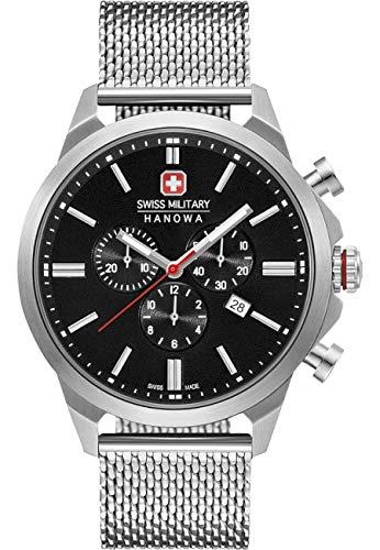 Swiss Military Hanowa Unisex Erwachsene Analog Quarz Uhr mit Edelstahl Armband 06-3332.04.007