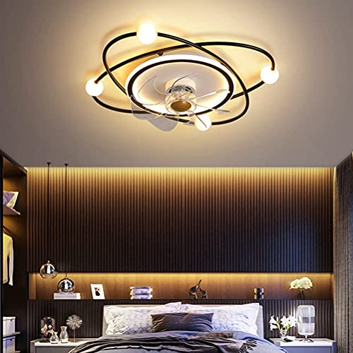 Ventilador de techo con iluminación LED y mando a distancia, 3 niveles ajustables, silencioso, lámpara de techo regulable, iluminación para habitación infantil, salón o dormitorio, 40 W, ø53 cm