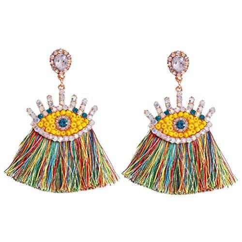 1 Paar Damen Layered Troddel-ohrringe Lange Fringe Ohrringe Schmuck-geschenk