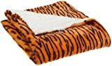 Northpoint Wild Side Faux Fur Sherpa Throw, Orange Tiger