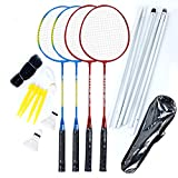 Airsnigi Badminton Set, Portable Outdoor Badminton Combo Set Badminton Net System, Fun Lawn or Beach Game Sets for The Whole Family