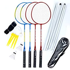Have Fun: Backyard or beach fun begins with this complete Badminton set. It's a classic sport that can be enjoyed by all ages Easy to Assemble Pole System: Includes 1 net, 6 net posts, 4 ground reinforcement nail column, 1 bold and strong rope Access...