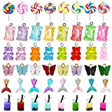 48 Pcs Candy Chrams Colorful Sweet Candy Chrams Bear Charms Lollipop Charms Milk Tea Drink Bottle Charms Mermaid Tail Charms Butterfly Charms for DIY Earring Bracelet Necklace Jewelry Making Supplies