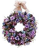 U'Artlines 40cm Natürliche Girlanden Haustür Kränze, Künstliche Rose Hängenden Kranz mit Band Indoor Outdoor Dekoration(Blau/Lila)
