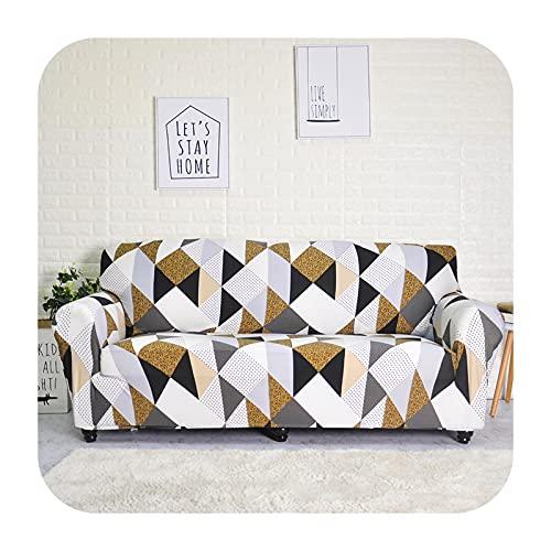 Funda de sofá elástica geométrica para sala de estar moderna seccional esquina sofá funda de sofá cubierta de silla protector 1/2/3/4 plazas-marrón a cuadros 4 plazas 235-300 cm