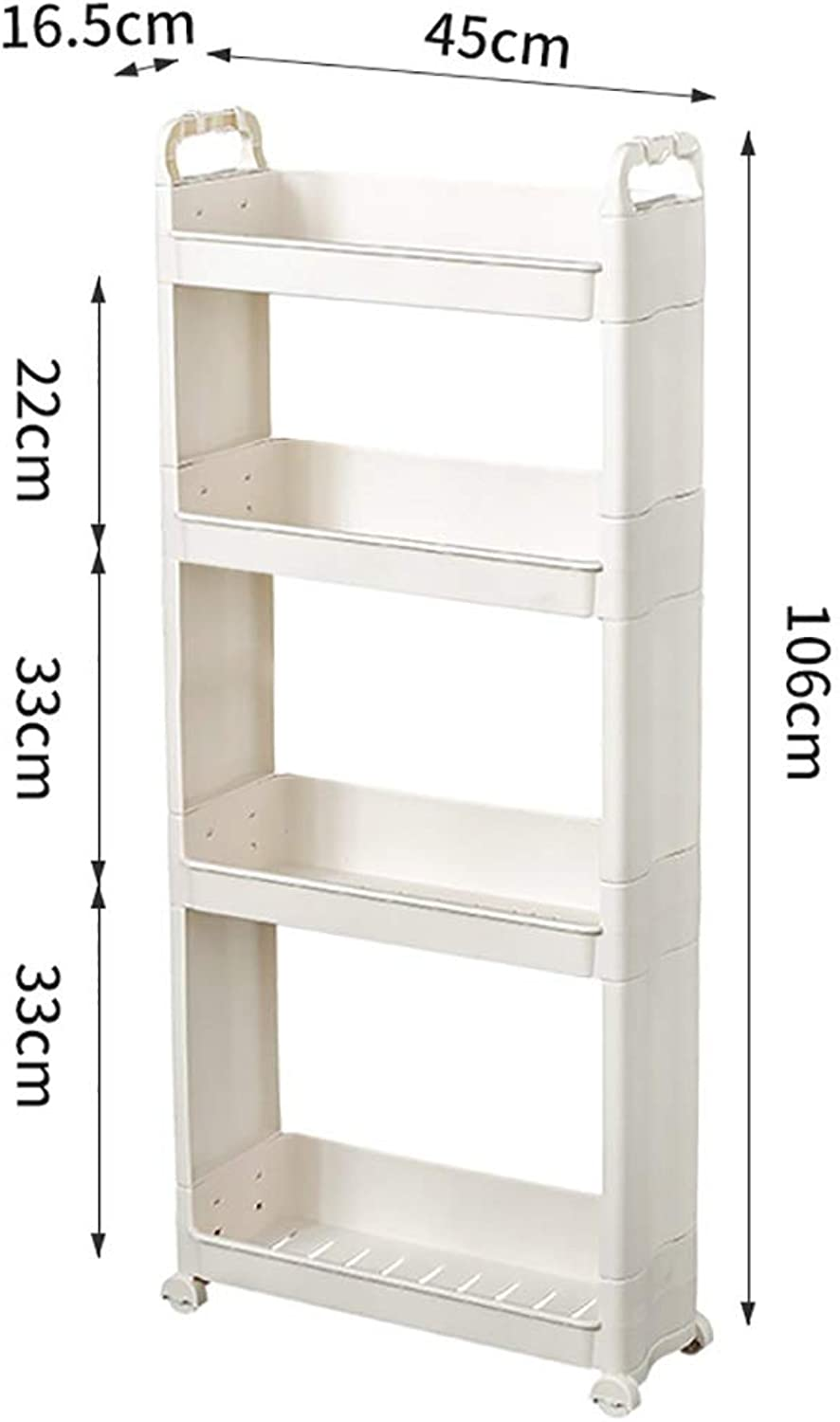 3 4 Tiers Clamping Rack, Pulley Movable Bathroom Gap Storage Shelf Landing for The Kitchen Bathroom (color   B)