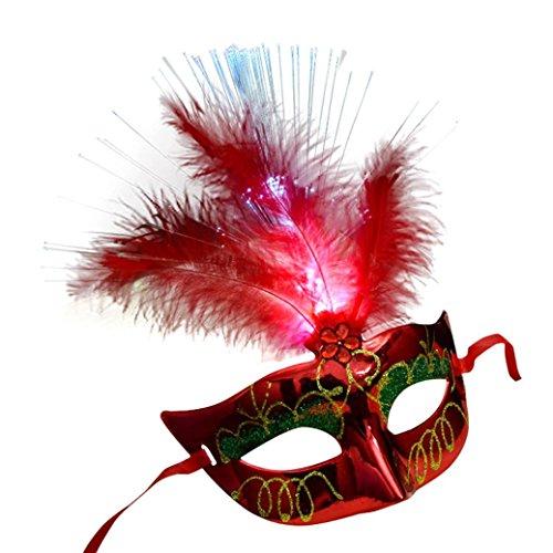 Masque femme, Koly Masque Loup Venitien en en fibre Plume de LED Deguisement pour la Soiree Masque de Bal Mascarade Halloween Partie Vampire (Rouge)