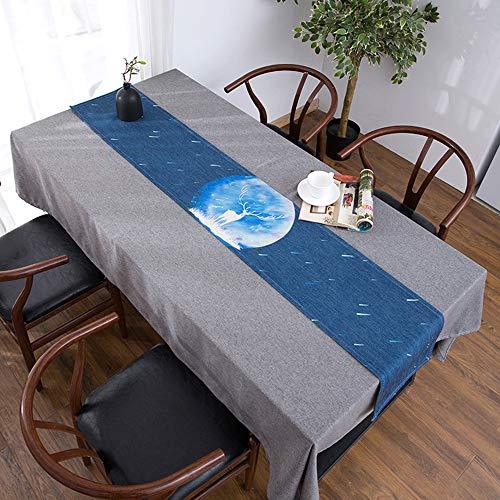 Drapeau de Table Longue, Nappe de Meuble de télévision, Lin en Coton Bei, Nappe de Table Basse, Housse de Meuble TV Anti-poussière(;)