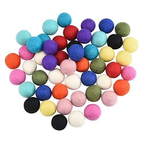 Bola de Fieltro,50 Piezas los Pompones de Bolas de Colores con Lana Decoración,12 Bolas de Fieltro de Colores Surtidos para Fiestas CumpleañOs Clases Manuales Escuelas 3 cm