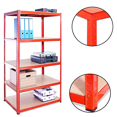 Heavy Duty Metal Garage Shelving Racking Unit Storage Rack Boltless Shelf 150x70 x 30 cm Perfect for Garage Storage Bookstore Room wall175kg per Shelf,875kgs Capacity Garage shed Storage Shelving