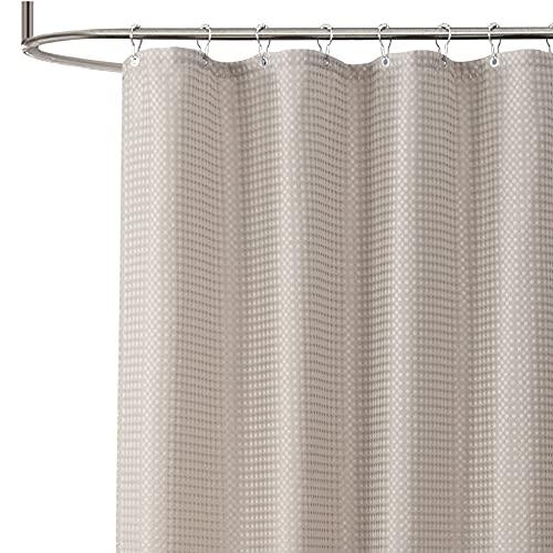 Home Queen Duschvorhang, Waffel, strapazierfähig, wasserabweisend, für Badewanne, 183 x 183 cm, Taupe