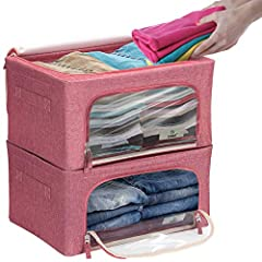 SMALL STORAGE ORGANIZER BOX SET (PINK, 2_PACK) — Store and protect clothing and household items with box style container bins EASY ACCESS & CLUTTER-FREE STORAGE — Front and top zipper opening makes it easy to store and remove contents — Multi-purpose...