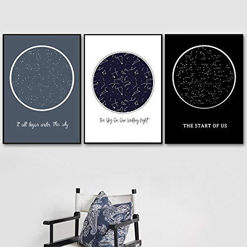 Mapa de estrellas personalizado Cuadro de constelaciones Arte de la pared Pintura en lienzo Carteles nórdicos e impresiones de pared Cuadros para la sala de estar Decoración para el hogar Sin marco