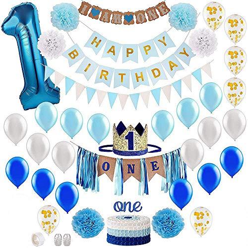 Decoración para bautizo, primer cumpleaños, decoración para niño, primer cumpleaños, decoración con número 1, globo azul para decoración de fiestas, decoración para el primer cumpleaños