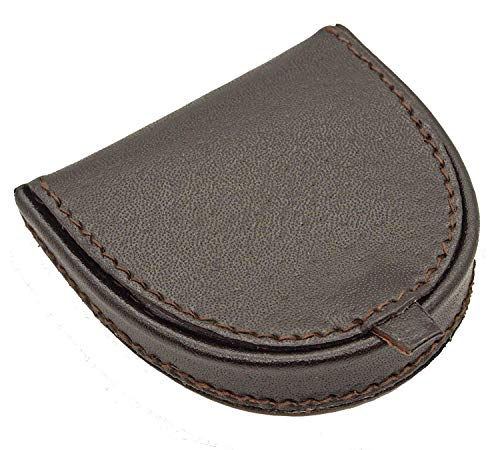 LIVAN - L089 - Porte-Monnaie Homme Femme - Cuvette Demi Lune - Cuir véritable - Compact et Pratique - pour Poches Pantalon ou Veste (Marron)