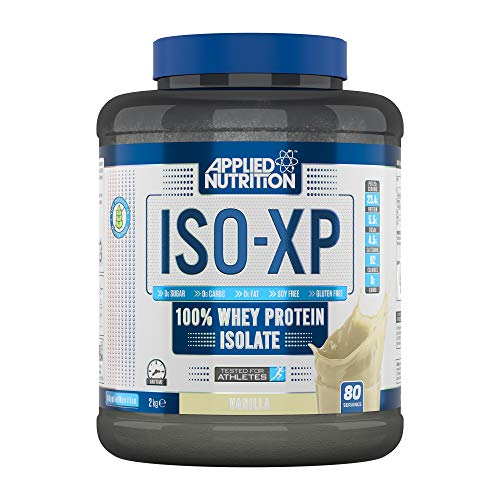 Applied Nutrition ISO XP 100% Pure Whey Protein Isolate Powder with BCAAs | Zero Sugar, Zero Fat, Soy Free, Gluten Free, 2kg - 80 Servings (Vanilla)