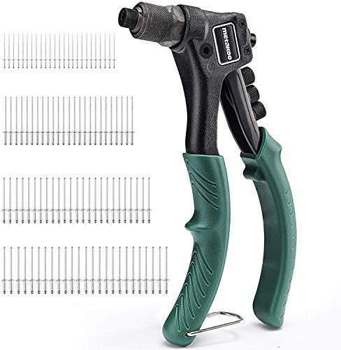 Metakoo MHR01H Handnietpistole mit 4 austauschbaren Farbcodierungsköpfen, 4-in-1-Handnieten-Set mit Nieten, 40 Stück