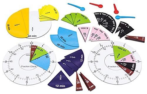 WISSNER actief leren Fractieklok, 63 magnetische stukken, Ø 10 cm, in een kartonnen doos