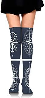 Set Of White Compasses With Navy Blue Background Navigation Sailing Themed Women's Fashion Over The Knee High Socks (60cm)