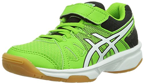 Asics Unisex-Kinder PRE-UPCOURT PS Badmintonschuhe, Grün (GREEN/WHITE/BLACK 8401), 28.5 EU