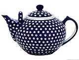 Original Bunzlauer Keramik - sehr große Teekanne/Kaffeekanne - 2.9 Liter mit zweitem Henkel im Dekor 42