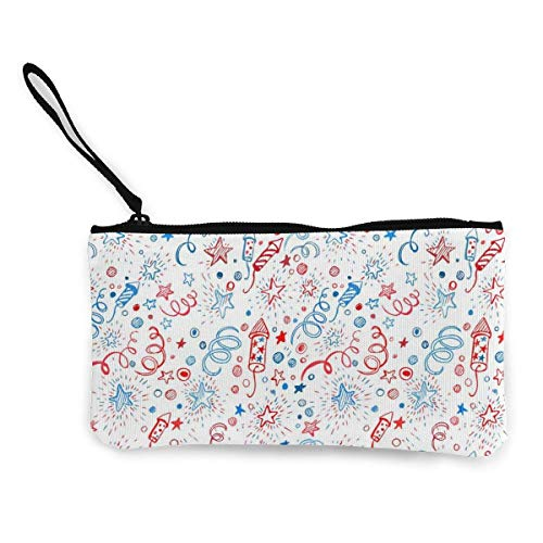 American Independence Day 4 Pills Canvas Coin Purse Cute Pouch Change Purse 4.5 X 8.5 Inch with Zipper Cash Bag Small Wallet Card Key Case for Women