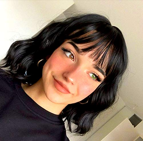 Stamped Glorious Short Wavy Bob Wigs with Bangs for Women Synthetic Black Wig with Bangs Shoulder Length Natural Looking Heat Resistant Fiber Hair (2#)