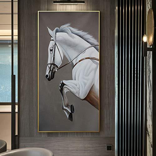 WSNDGWS Moderne Minimalistische Stijl Dier Paard Elk Woonkamer Sofa Achtergrond Muurschildering Porch Mural Geen Fotolijst 40x80cm A2
