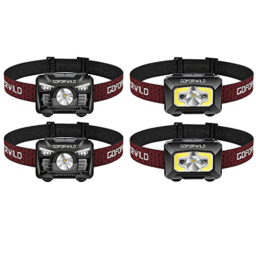 2 Pack of 500 Lumens Rechargeable Headlamp with 2 Pack COB Enhanced Headlamp