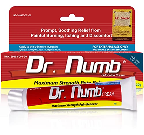 Dr. Numb 5% Lidocaine Topical Anesthetic Numbing Cream for Pain Relief, Maximum Strength with Vitamin E for Real Time Relieves of Local Discomfort, Itching, Pain, Soreness or Burning - 30g