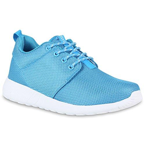 stiefelparadies Damen Lauf Modische Sportchuhe Sneaker ProfilsohleGlitzer Pailletten Sneakers Runners Snake Blumen Schuhe 140135 Hellblau 38 Flandell