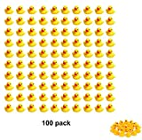 Sohapy 100Pcs Mini Yellow Rubber Ducks Tiny Baby Shower Rubber Ducks, Squeak Fun Baby Yellow Rubber Bath Toy Float Fun Decorations for Shower Birthday Party Favors Cupcake Carnival Game Gift (100Pcs)