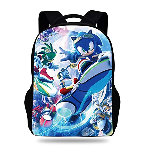 Lightweight Laptop Backpack Bag Sonic The Hedgehog 3D with USB Charging Port Water Resistant Casual Bookbag for School Travel Daypack for Men Women,1