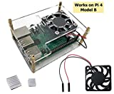 Micro Connectors Stackable Acrylic Raspberry Pi 3 Case for Model B B+ and Pi 4 Enclosure with Fan and Heatsinks - Clear (RAS-PCS06)