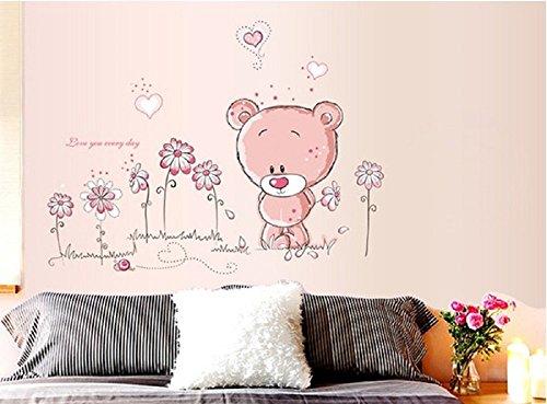 Walplus Pink Teddy Bear ABC - Kinderzimmer Wandaufkleber Niedlicher Rosa Teddybär 50cm x 70cm