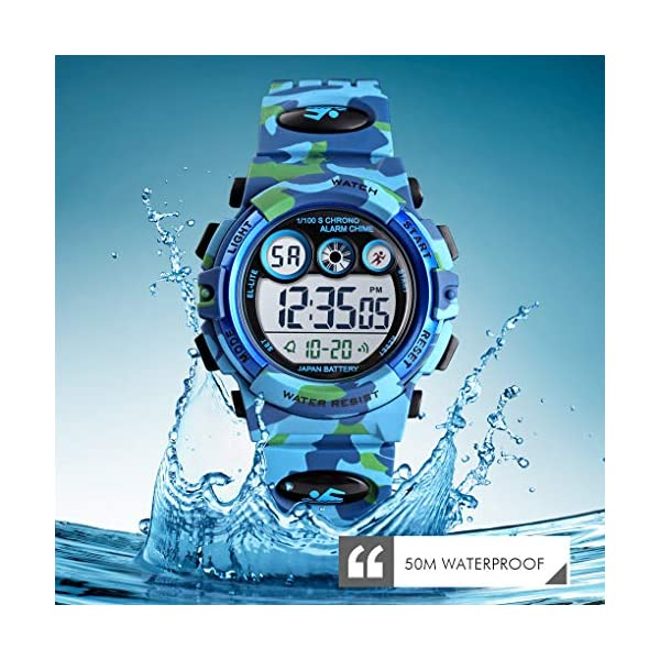 Tonnier Watch Kids Sports Watch Multi Function Digital Watches Colorful LED Display Waterproof Wristwatches for Children with PU Band