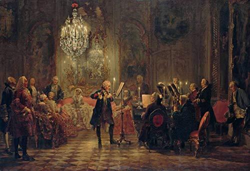 Berkin Arts Adolph Menzel Giclée Leinwand Prints Gemälde Poster Reproduktion(Flötenkonzert mit Friedrich dem Großen in Sanssouci)