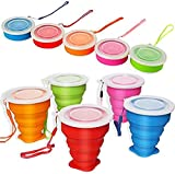 CEVENT 5Pcs/Set Silicone Collapsible Cup,Camping Essentails Travel Cup,Collapsible Measuring Cups for Hiking Camping Backpacking,Space Saving Camping Mugs