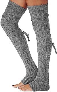 jsadfojas, medias de lana para mujer espesar los calentadores de pierna de invierno de punto calcetines de invierno
