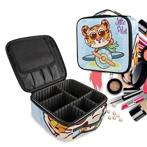 Avion De Dessin Animé Volant Tigre Trousse Sac Cosmétique Organisateur de Maquillage Pochette Sacs Cas avec Cloisons Amovibles pour Voyage Les Femmes Filles